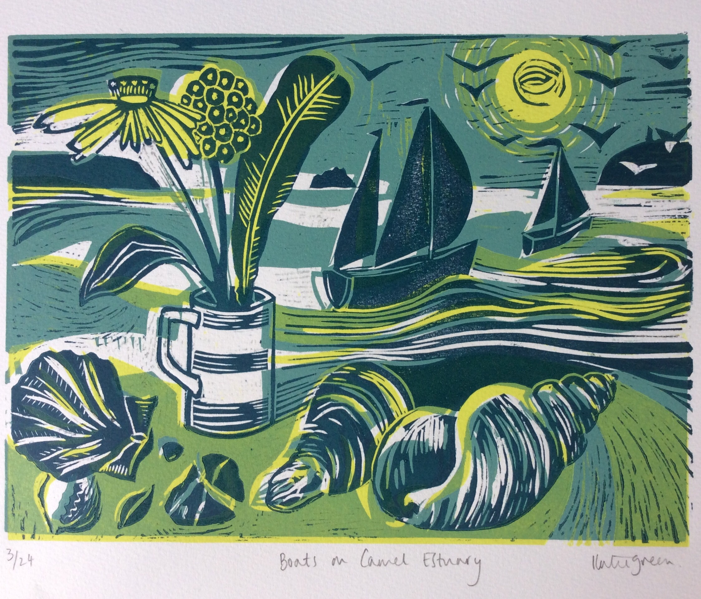 Three colour Lino print