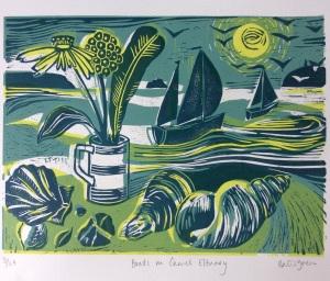 Three colour Lino print